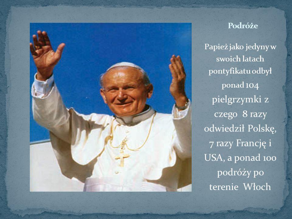 Papież jako jedyny w swoich latach pontyfikatu odbył ponad 104 pielgrzymki z czego 8 razy odwiedził Polskę, 7 razy Francję i USA, a ponad 100 podróży