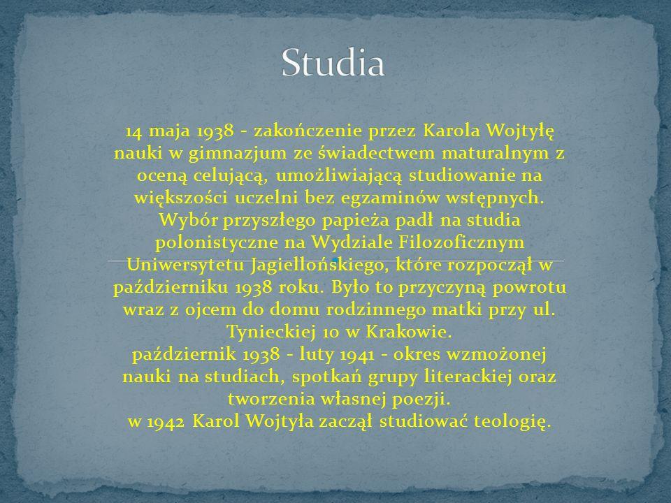 14 maja 1938 - zakończenie przez Karola Wojtyłę nauki w gimnazjum ze świadectwem maturalnym z oceną celującą, umożliwiającą studiowanie na większości