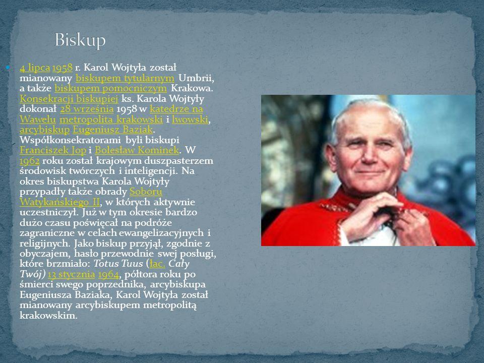 4 lipca 1958 r. Karol Wojtyła został mianowany biskupem tytularnym Umbrii, a także biskupem pomocniczym Krakowa. Konsekracji biskupiej ks. Karola Wojt