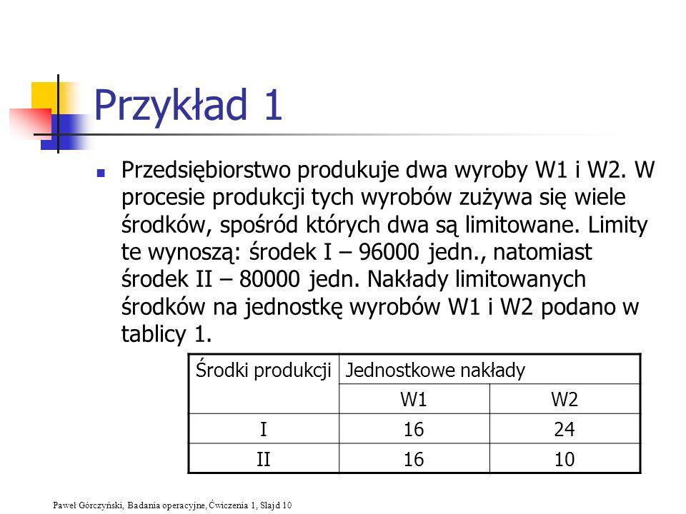 Paweł Górczyński, Badania operacyjne, Ćwiczenia 1, Slajd 10 Przykład 1 Przedsiębiorstwo produkuje dwa wyroby W1 i W2. W procesie produkcji tych wyrobó