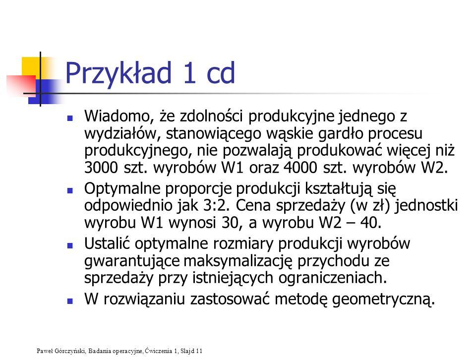 Paweł Górczyński, Badania operacyjne, Ćwiczenia 1, Slajd 11 Przykład 1 cd Wiadomo, że zdolności produkcyjne jednego z wydziałów, stanowiącego wąskie g