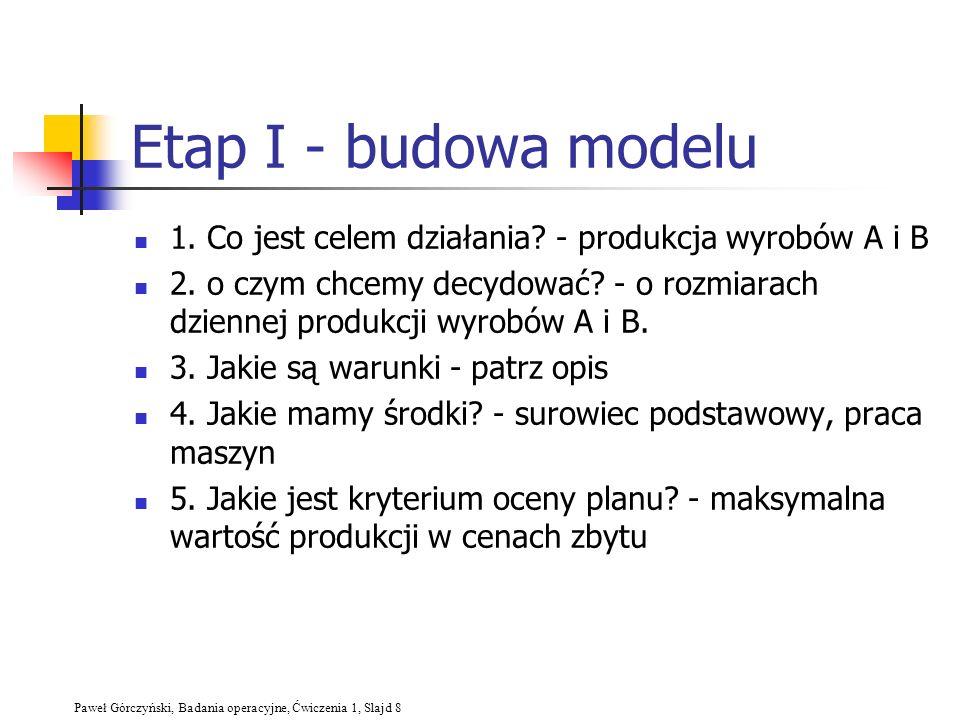 Paweł Górczyński, Badania operacyjne, Ćwiczenia 1, Slajd 8 Etap I - budowa modelu 1. Co jest celem działania? - produkcja wyrobów A i B 2. o czym chce