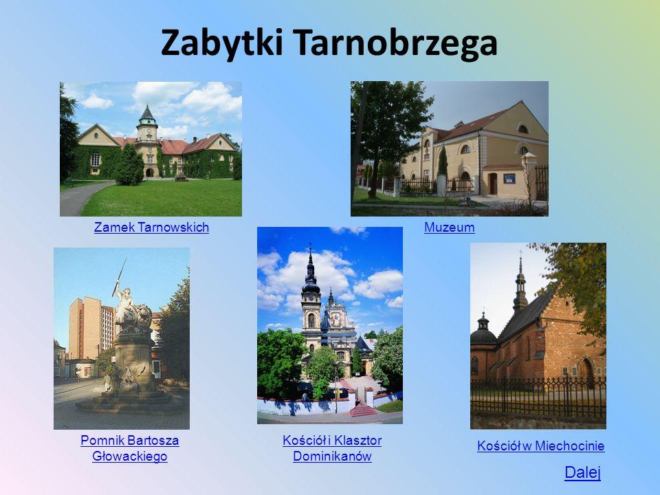 Zabytki Tarnobrzega Zamek Tarnowskich Muzeum Kościół i Klasztor Dominikanów Pomnik Bartosza Głowackiego Kościół w Miechocinie Dalej