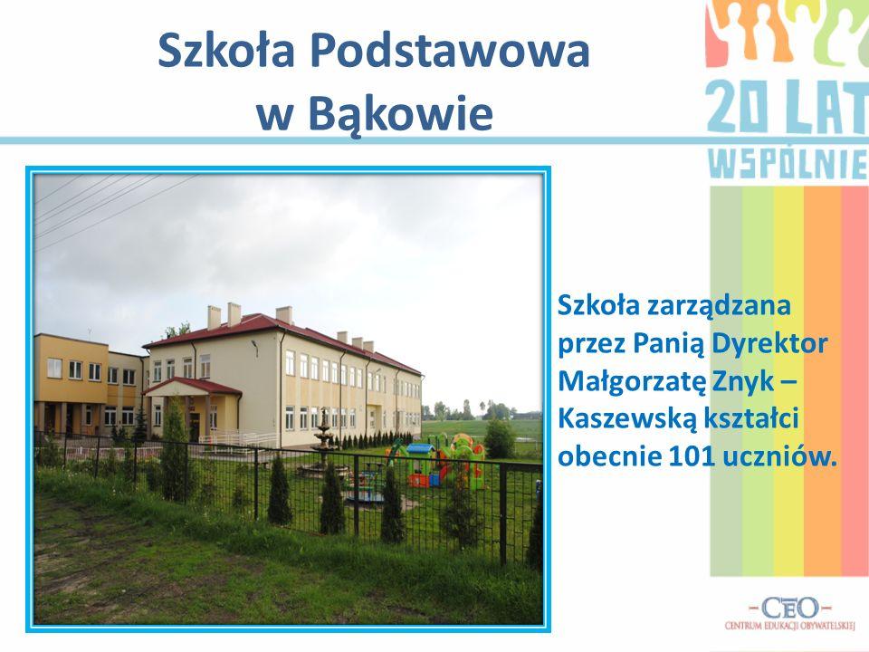 Szkoła Podstawowa w Bąkowie Szkoła zarządzana przez Panią Dyrektor Małgorzatę Znyk – Kaszewską kształci obecnie 101 uczniów.