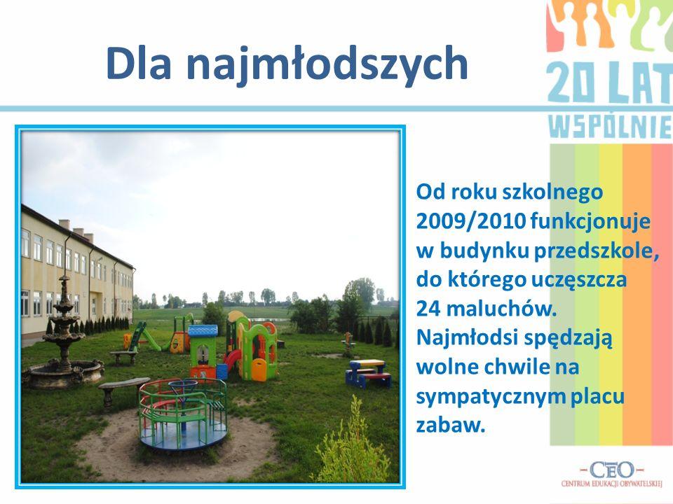 Dla najmłodszych Od roku szkolnego 2009/2010 funkcjonuje w budynku przedszkole, do którego uczęszcza 24 maluchów.