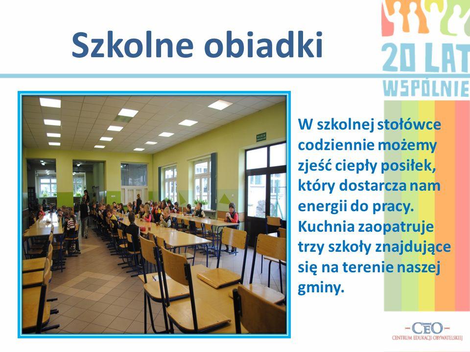 Szkolne obiadki W szkolnej stołówce codziennie możemy zjeść ciepły posiłek, który dostarcza nam energii do pracy.