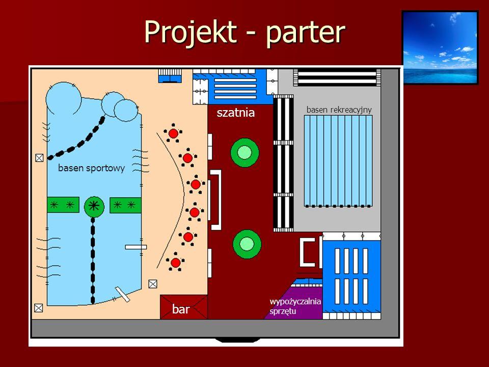 Projekt - parter basen sportowy basen rekreacyjny wypożyczalnia sprzętu szatnia bar