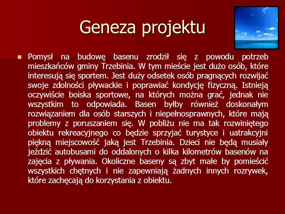 Geneza projektu Pomysł na budowę basenu zrodził się z powodu potrzeb mieszkańców gminy Trzebinia.
