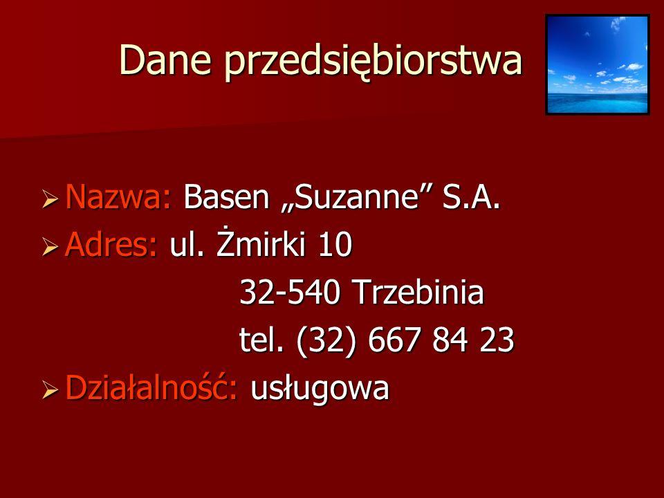 Dane przedsiębiorstwa Nazwa: Basen Suzanne S.A.Nazwa: Basen Suzanne S.A.