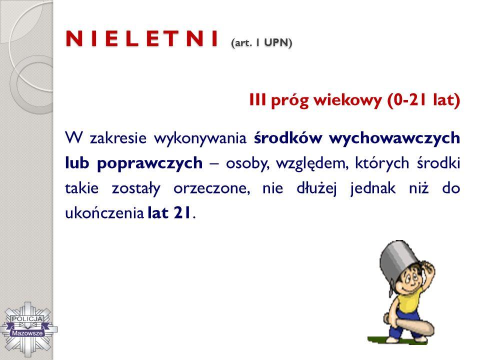 N I E L E T N I (art. 1 UPN) III próg wiekowy (0-21 lat) W zakresie wykonywania środków wychowawczych lub poprawczych – osoby, względem, których środk