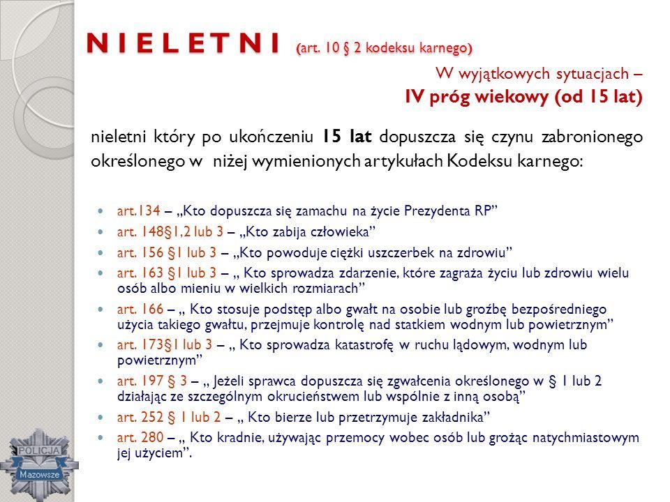 N I E L E T N I ( art. 10 § 2 kodeksu karnego ) W wyjątkowych sytuacjach – IV próg wiekowy (od 15 lat) nieletni który po ukończeniu 15 lat dopuszcza s