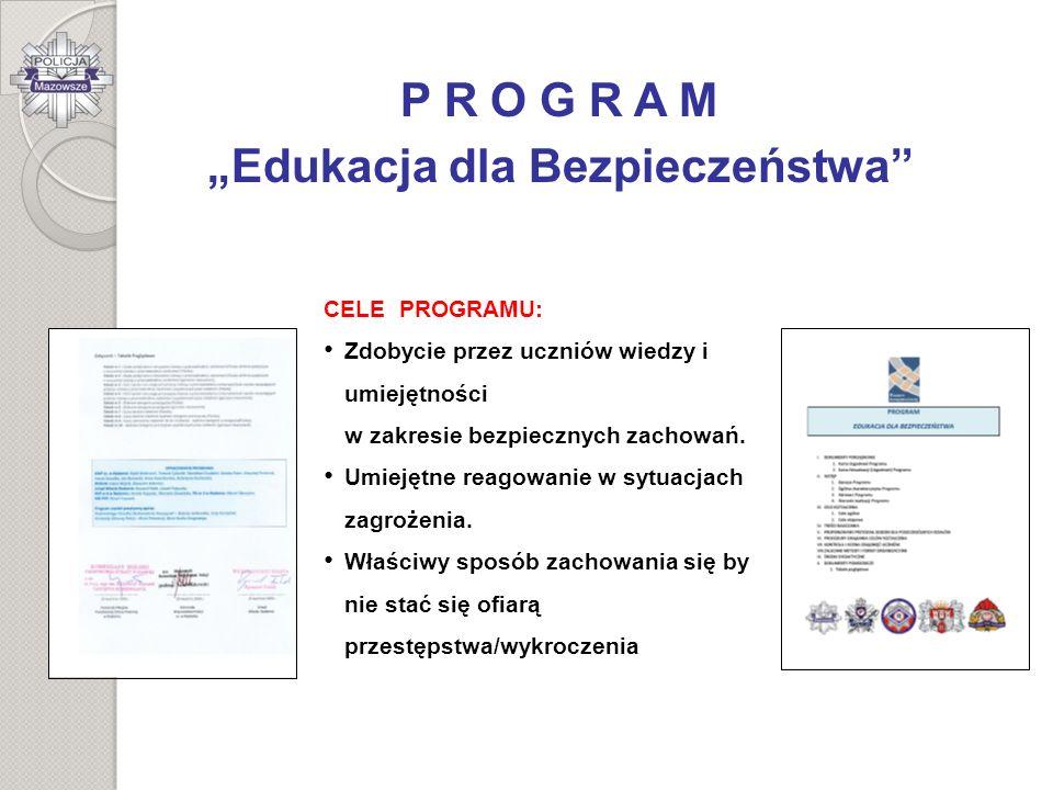 P R O G R A M Edukacja dla Bezpieczeństwa CELE PROGRAMU: Zdobycie przez uczniów wiedzy i umiejętności w zakresie bezpiecznych zachowań. Umiejętne reag