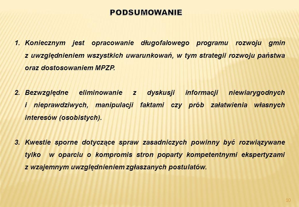 10 1.Koniecznym jest opracowanie długofalowego programu rozwoju gmin z uwzględnieniem wszystkich uwarunkowań, w tym strategii rozwoju państwa oraz dostosowaniem MPZP.