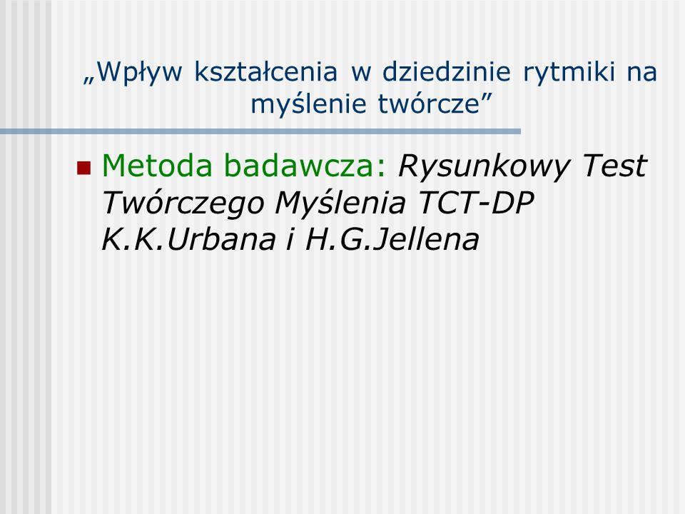 Wpływ kształcenia w dziedzinie rytmiki na myślenie twórcze Metoda badawcza: Rysunkowy Test Twórczego Myślenia TCT-DP K.K.Urbana i H.G.Jellena
