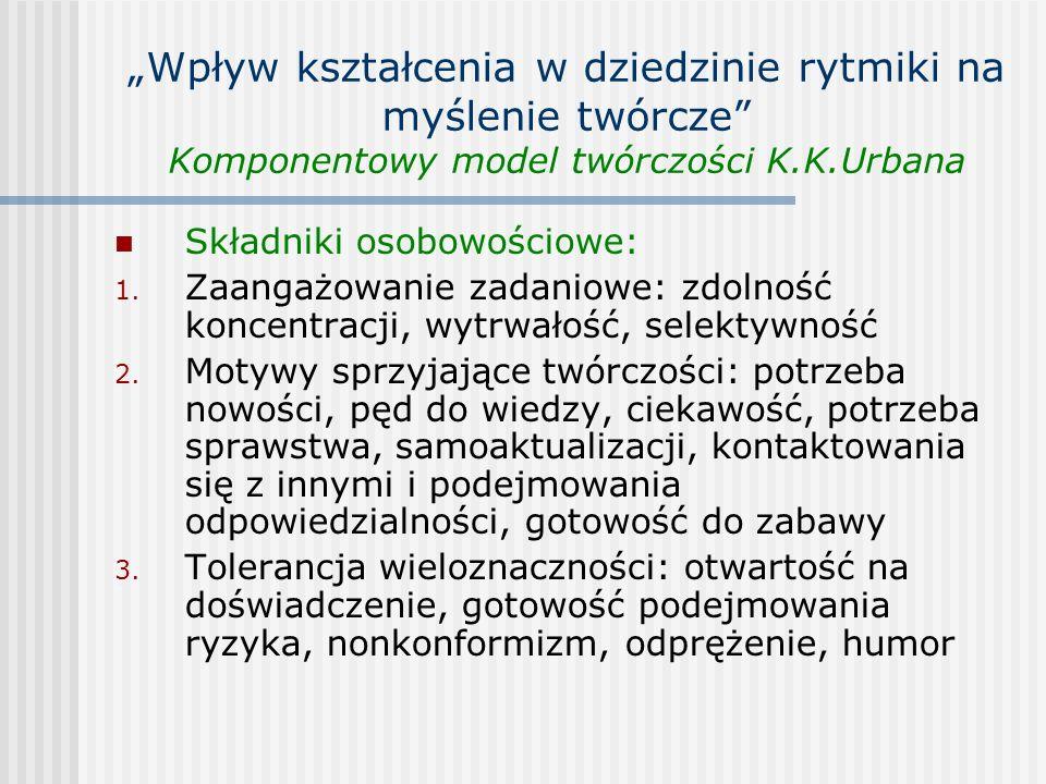 Wpływ kształcenia w dziedzinie rytmiki na myślenie twórcze Komponentowy model twórczości K.K.Urbana Składniki osobowościowe: 1. Zaangażowanie zadaniow