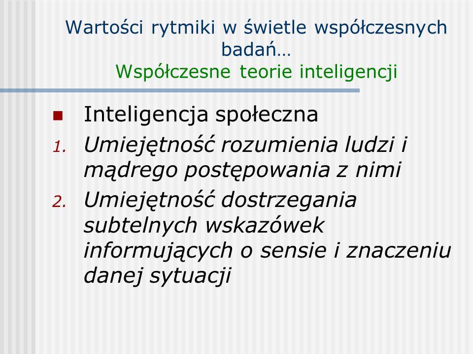 Wartości rytmiki w świetle współczesnych badań… Współczesne teorie inteligencji Inteligencja społeczna 1. Umiejętność rozumienia ludzi i mądrego postę