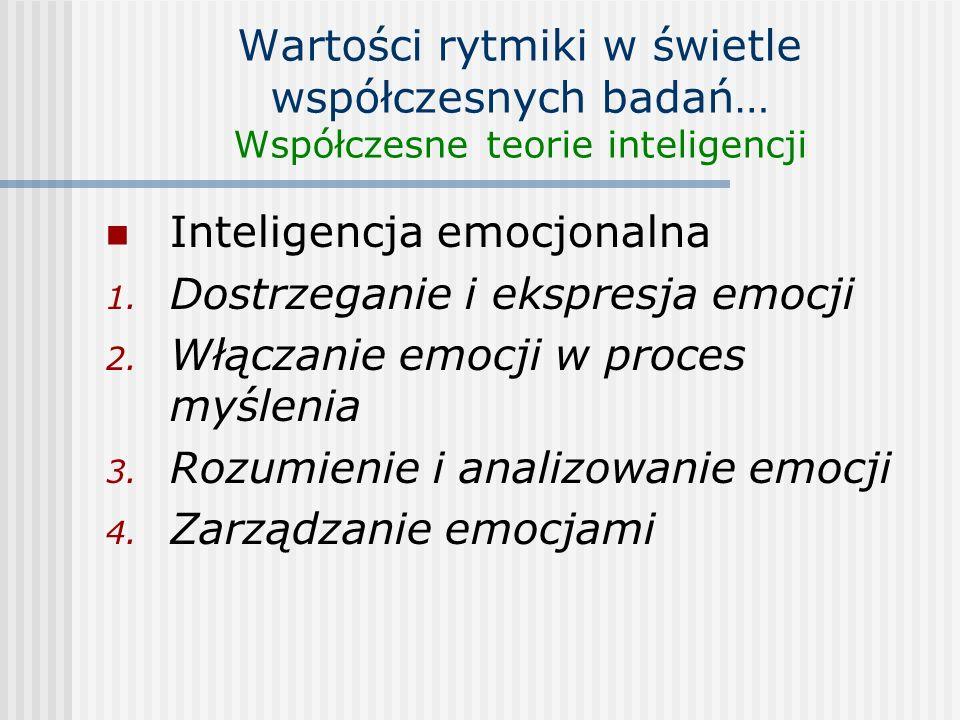 Wartości rytmiki w świetle współczesnych badań… Współczesne teorie inteligencji Inteligencja emocjonalna 1. Dostrzeganie i ekspresja emocji 2. Włączan