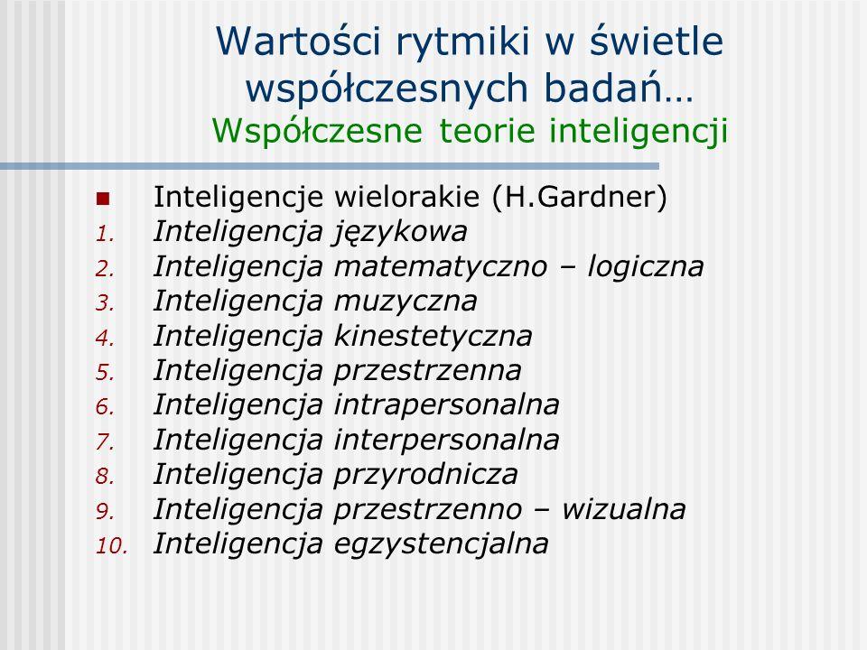 Wartości rytmiki w świetle współczesnych badań… Współczesne teorie inteligencji Inteligencje wielorakie (H.Gardner) 1. Inteligencja językowa 2. Inteli