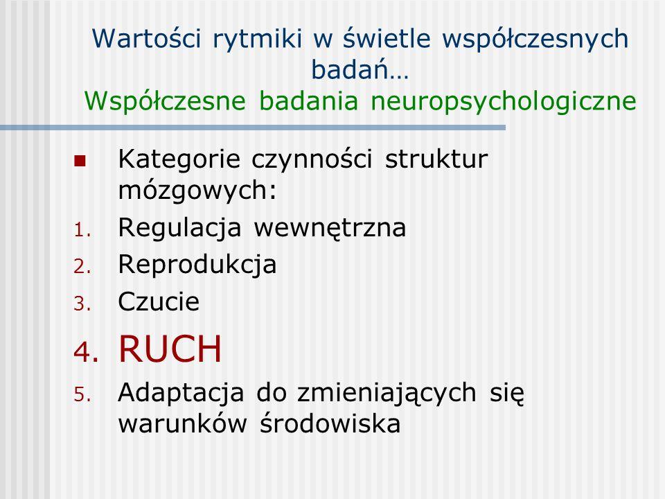 Kategorie czynności struktur mózgowych: 1. Regulacja wewnętrzna 2. Reprodukcja 3. Czucie 4. RUCH 5. Adaptacja do zmieniających się warunków środowiska
