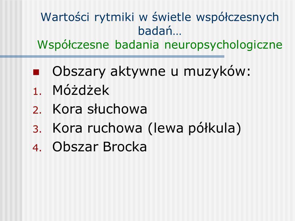 Wartości rytmiki w świetle współczesnych badań… Współczesne badania neuropsychologiczne Obszary aktywne u muzyków: 1. Móżdżek 2. Kora słuchowa 3. Kora