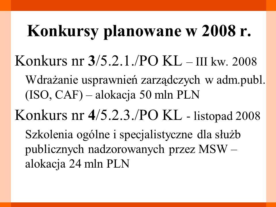 Konkursy planowane w 2008 r. Konkurs nr 3/5.2.1./PO KL – III kw.