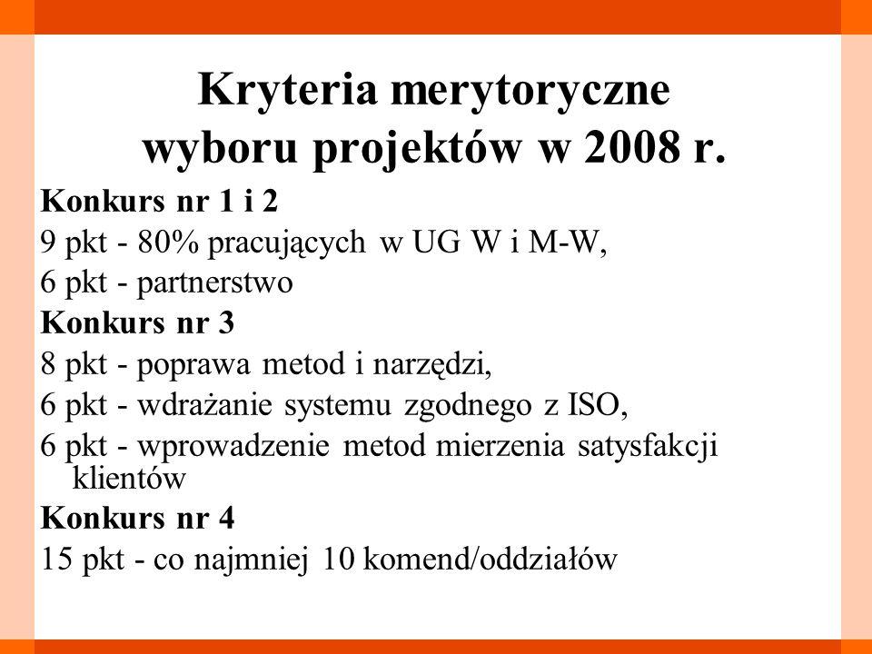 Kryteria merytoryczne wyboru projektów w 2008 r.