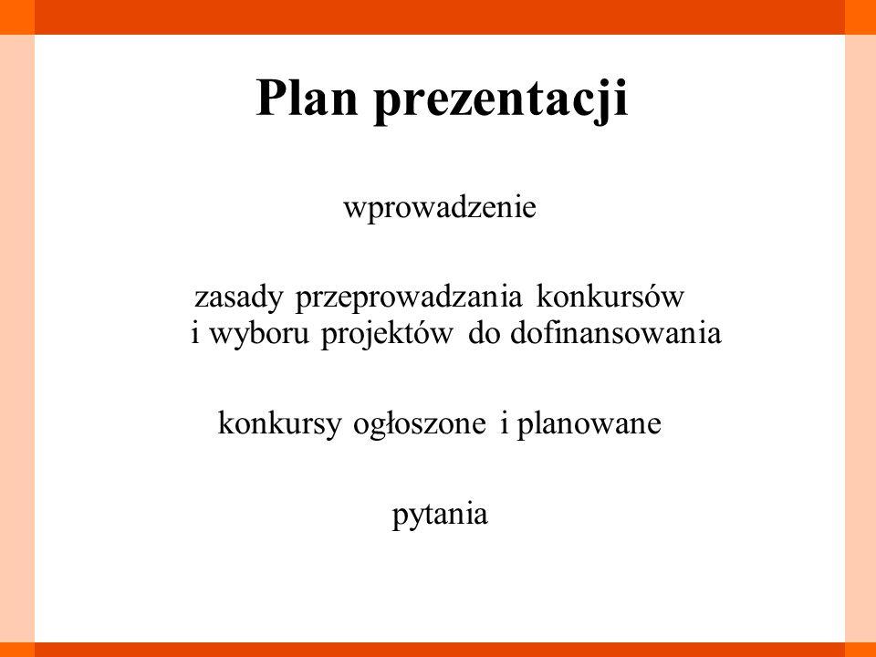 Plan prezentacji wprowadzenie zasady przeprowadzania konkursów i wyboru projektów do dofinansowania konkursy ogłoszone i planowane pytania