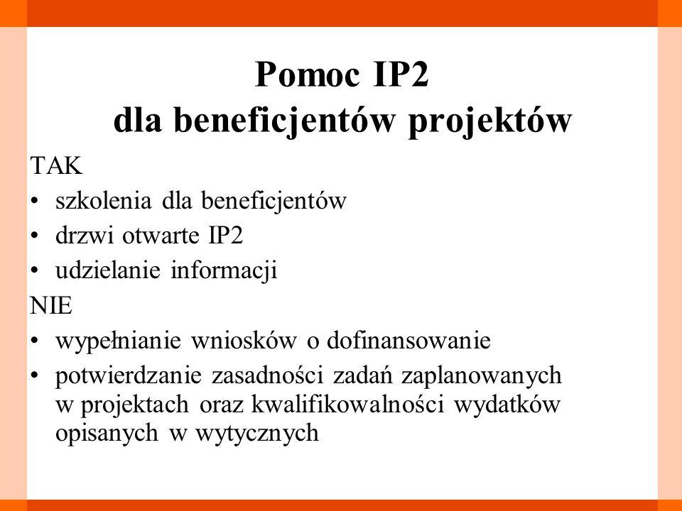 Pomoc IP2 dla beneficjentów projektów TAK szkolenia dla beneficjentów drzwi otwarte IP2 udzielanie informacji NIE wypełnianie wniosków o dofinansowanie potwierdzanie zasadności zadań zaplanowanych w projektach oraz kwalifikowalności wydatków opisanych w wytycznych