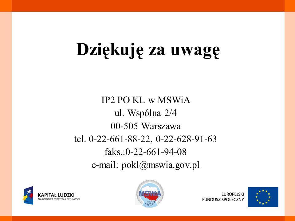 Dziękuję za uwagę IP2 PO KL w MSWiA ul. Wspólna 2/4 00-505 Warszawa tel.