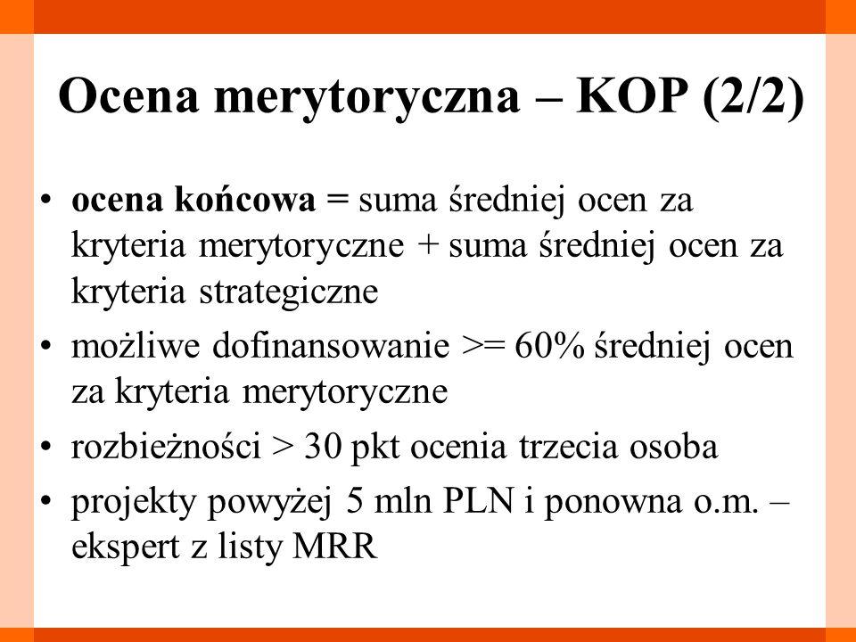 Ocena merytoryczna – KOP (2/2) ocena końcowa = suma średniej ocen za kryteria merytoryczne + suma średniej ocen za kryteria strategiczne możliwe dofinansowanie >= 60% średniej ocen za kryteria merytoryczne rozbieżności > 30 pkt ocenia trzecia osoba projekty powyżej 5 mln PLN i ponowna o.m.