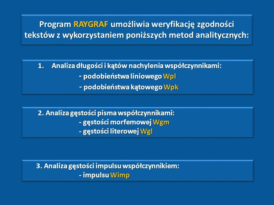 Program RAYGRAF umożliwia weryfikację zgodności tekstów z wykorzystaniem poniższych metod analitycznych: 1.Analiza długości i kątów nachylenia współczynnikami: - podobieństwa liniowego Wpl - podobieństwa liniowego Wpl - podobieństwa kątowego Wpk - podobieństwa kątowego Wpk 1.Analiza długości i kątów nachylenia współczynnikami: - podobieństwa liniowego Wpl - podobieństwa liniowego Wpl - podobieństwa kątowego Wpk - podobieństwa kątowego Wpk 2.