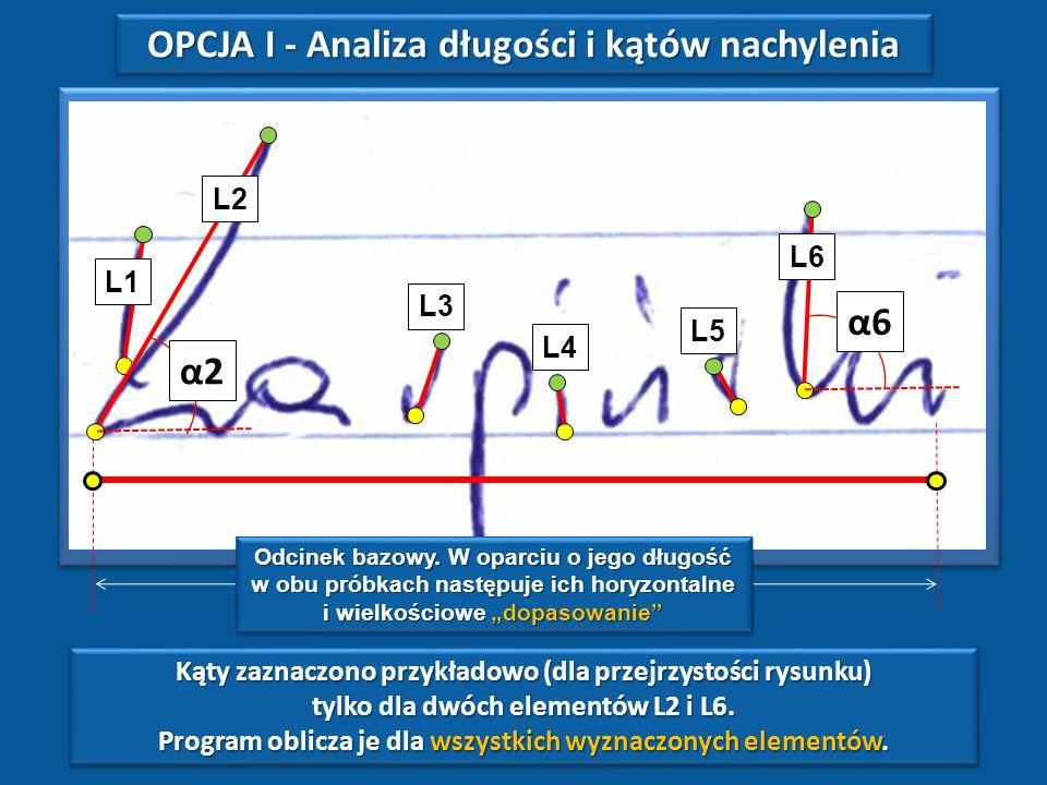 Program RAYGRAF umożliwia weryfikację zgodności tekstów z wykorzystaniem poniższych metod analitycznych: 1.Analiza długości i kątów nachylenia współcz