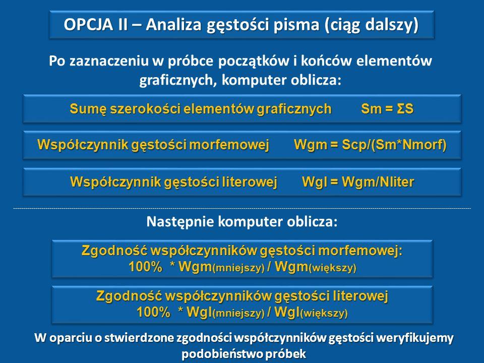 S2S2 S1S1 S3S3S4S4S5S5S6S6S7S7 Liczba elementów graficznych N morf =7 Liczba liter w próbce N liter =9 Scp - szerokość całkowita próbki OPCJA II – Ana