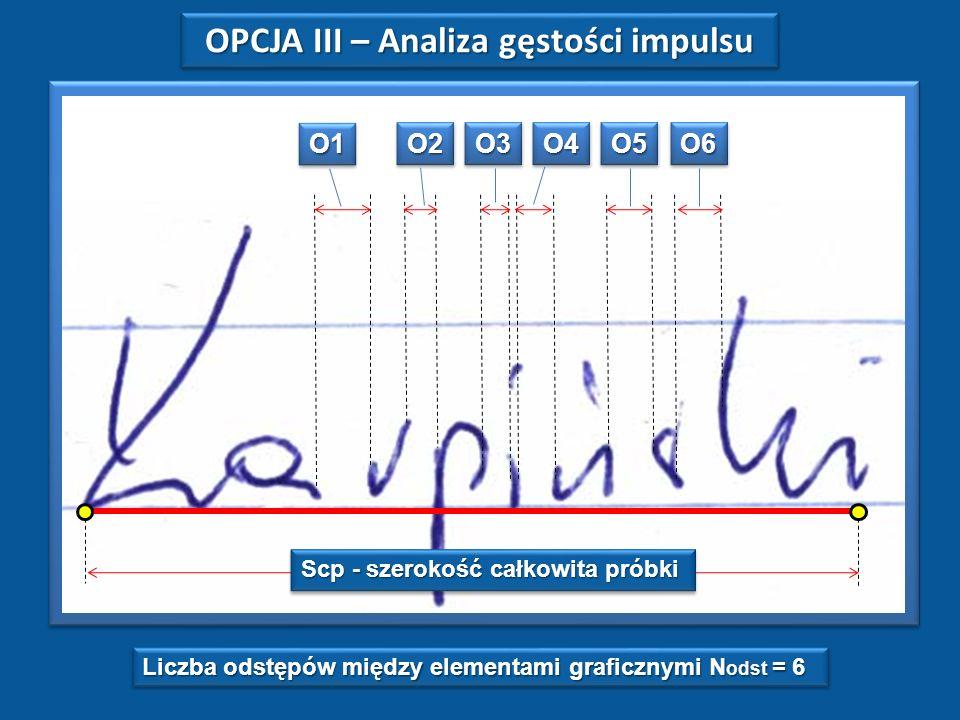 O1O1 O2O2O3O3O4O4O5O5O6O6 Liczba odstępów między elementami graficznymi N odst = 6 Scp - szerokość całkowita próbki OPCJA III – Analiza gęstości impulsu