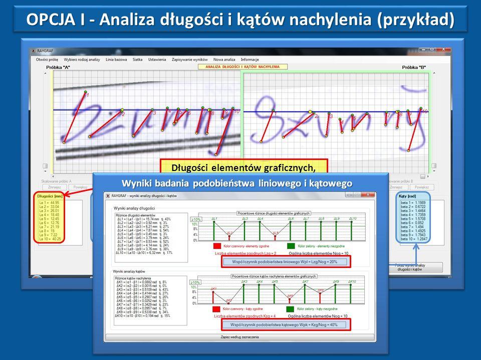 Długości elementów graficznych, wyznaczonych przez eksperta.