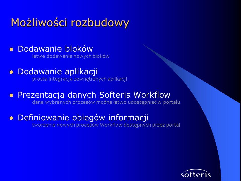 Dodawanie bloków łatwe dodawanie nowych bloków Dodawanie aplikacji prosta integracja zewnętrznych aplikacji Prezentacja danych Softeris Workflow dane wybranych procesów można łatwo udostępniać w portalu Definiowanie obiegów informacji tworzenie nowych procesów Workflow dostępnych przez portal Możliwości rozbudowy
