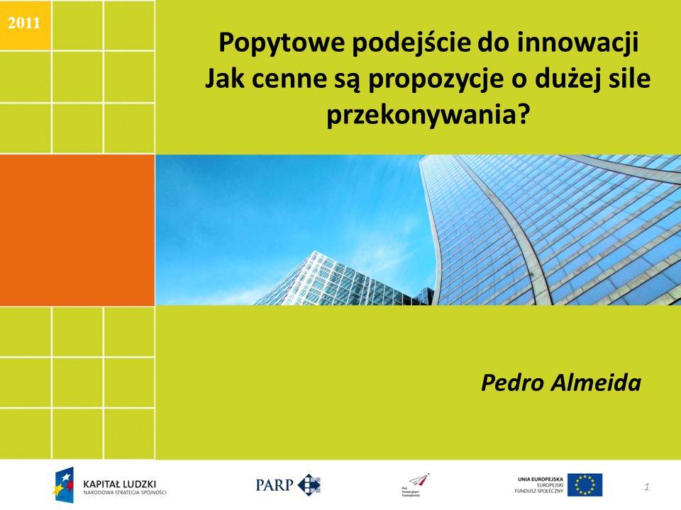Popytowe podejście do innowacji Jak cenne są propozycje o dużej sile przekonywania? Pedro Almeida 1 2011
