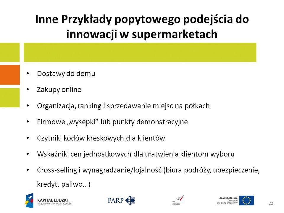 Inne Przykłady popytowego podejścia do innowacji w supermarketach Dostawy do domu Zakupy online Organizacja, ranking i sprzedawanie miejsc na półkach