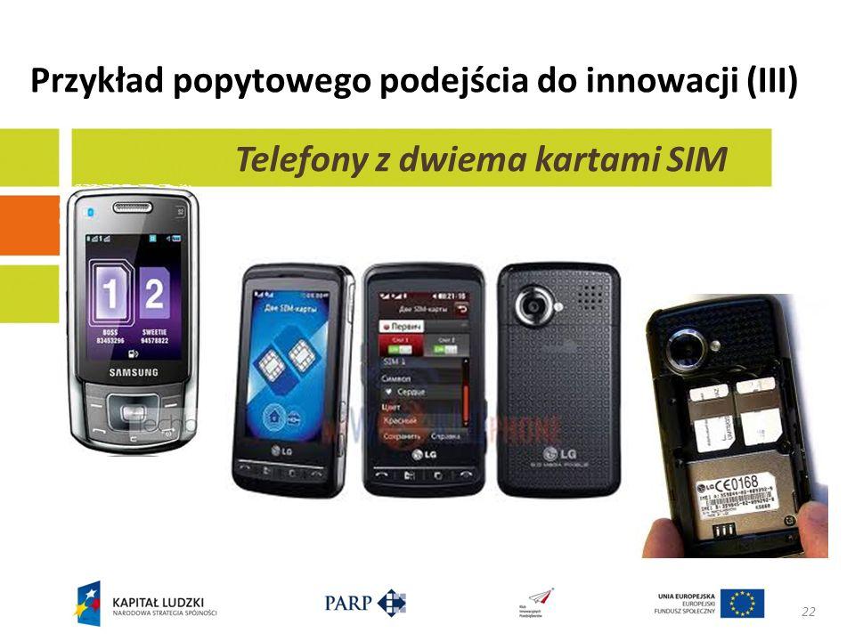 Przykład popytowego podejścia do innowacji (III) 22 Telefony z dwiema kartami SIM