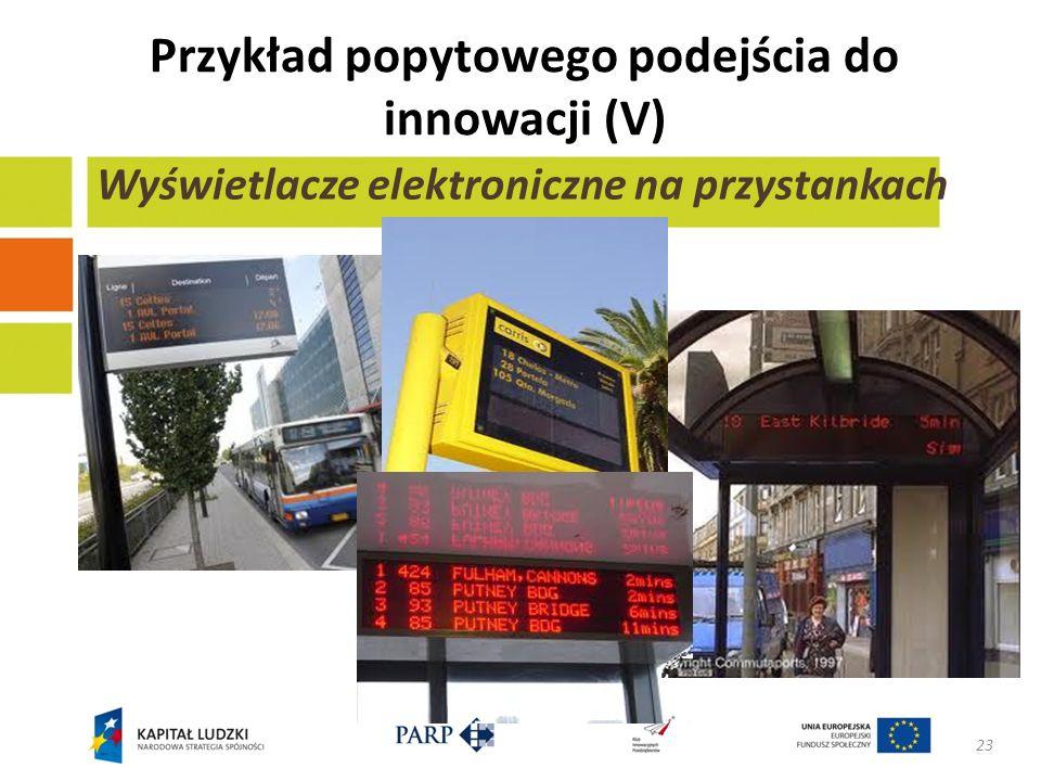 Przykład popytowego podejścia do innowacji (V) 23 Wyświetlacze elektroniczne na przystankach