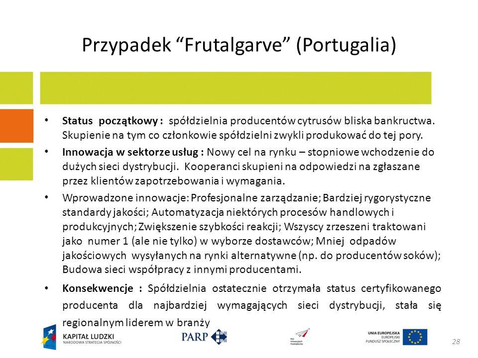 Przypadek Frutalgarve (Portugalia) Status początkowy : spółdzielnia producentów cytrusów bliska bankructwa. Skupienie na tym co członkowie spółdzielni
