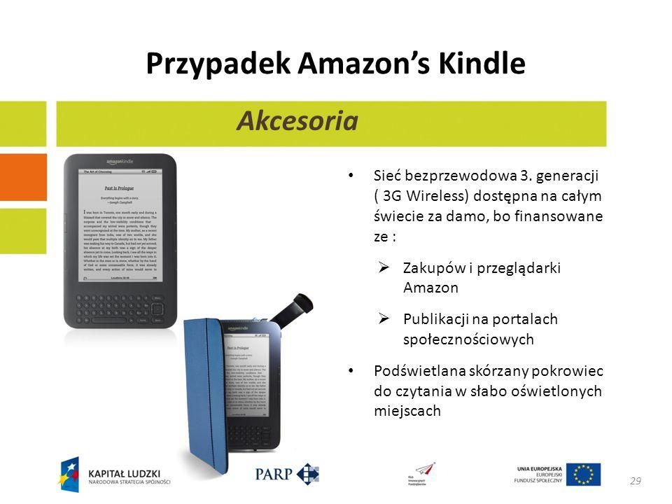 Przypadek Amazons Kindle Sieć bezprzewodowa 3. generacji ( 3G Wireless) dostępna na całym świecie za damo, bo finansowane ze : Zakupów i przeglądarki