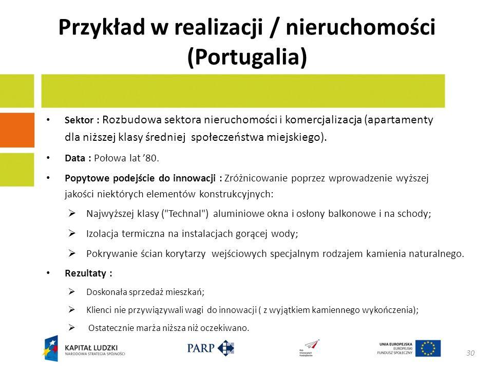 Przykład w realizacji / nieruchomości (Portugalia) Sektor : Rozbudowa sektora nieruchomości i komercjalizacja (apartamenty dla niższej klasy średniej społeczeństwa miejskiego).