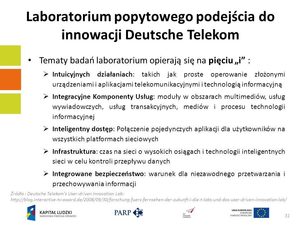 Laboratorium popytowego podejścia do innowacji Deutsche Telekom Tematy badań laboratorium opierają się na pięciu i : Intuicyjnych działaniach: takich jak proste operowanie złożonymi urządzeniami i aplikacjami telekomunikacyjnymi i technologią informacyjną Integracyjne Komponenty Usług: moduły w obszarach multimediów, usług wywiadowczych, usług transakcyjnych, mediów i procesu technologii informacyjnej Inteligentny dostęp: Połączenie pojedynczych aplikacji dla użytkowników na wszystkich platformach sieciowych Infrastruktura: czas na sieci o wysokich osiągach i technologii inteligentnych sieci w celu kontroli przepływu danych Integrowane bezpieczeństwo: warunek dla niezawodnego przetwarzania i przechowywania informacji 31 Źródło : Deutsche Telekoms User-driven Innovation Lab: http://blog.interactive-tv-award.de/2008/09/30/forschung-fuers-fernsehen-der-zukunft-i-die-t-labs-und-das-user-driven-innovation-lab/