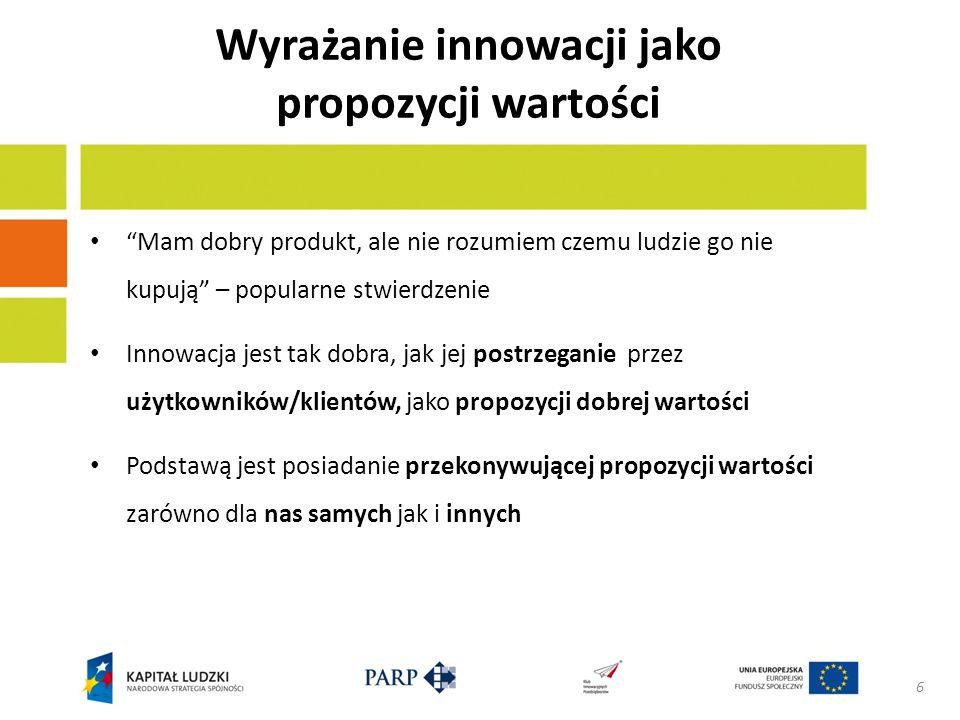 Wyrażanie innowacji jako propozycji wartości Mam dobry produkt, ale nie rozumiem czemu ludzie go nie kupują – popularne stwierdzenie Innowacja jest tak dobra, jak jej postrzeganie przez użytkowników/klientów, jako propozycji dobrej wartości Podstawą jest posiadanie przekonywującej propozycji wartości zarówno dla nas samych jak i innych 6