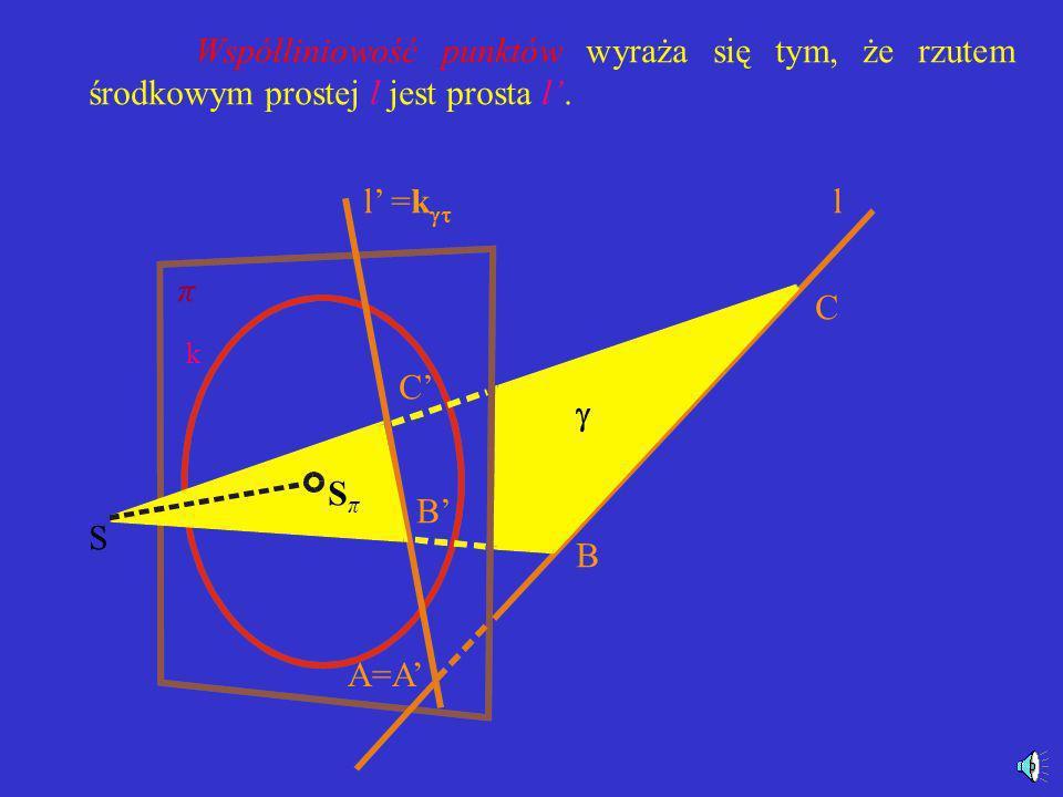 Niezmienniki rzutu środkowego -współliniowość punktów - niezmienniczość dwustosunku czwórki punktów leżących na jednej prostej - równość kąta o ramion