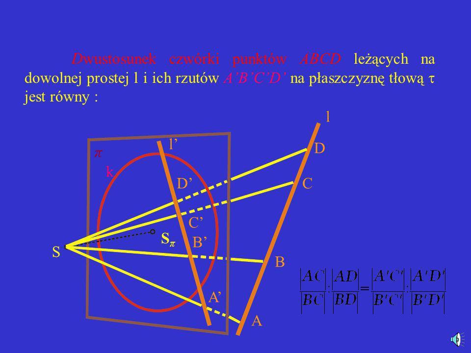 Współliniowość punktów wyraża się tym, że rzutem środkowym prostej l jest prosta l. π k SπSπ S C B C B ll =k A=A