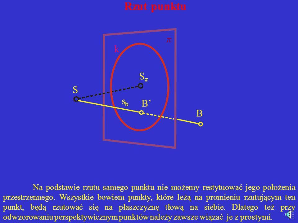 Rzut punktu Rzutem środkowym punktów przestrzeni za wyjątkiem tych, które leżą na płaszczyźnie zniknienia, tj. na płaszczyźnie przechodzącej przez śro