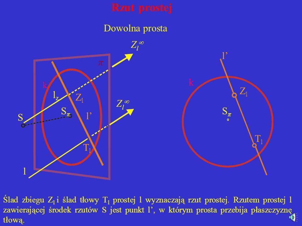 Rzut prostej Rzutem środkowym prostej może być prosta lub punkt. Jeżeli weźmiemy pod uwagę prostą l nie leżącą na płaszczyźnie zniknienia, to jej rzut