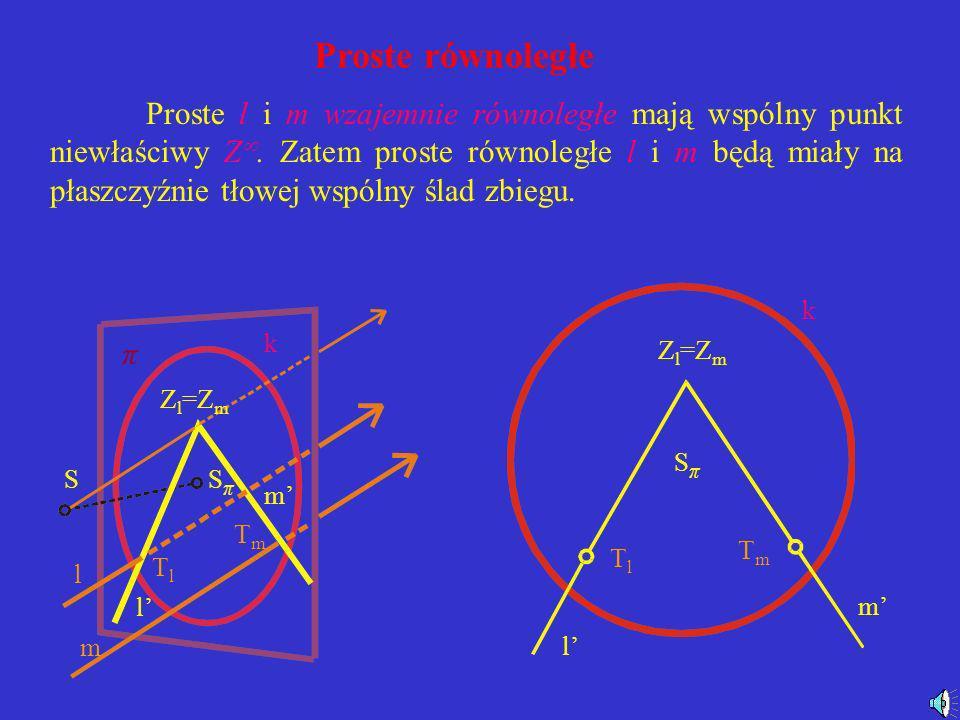 Prosta leżąca na płaszczyźnie zniknienia S SπSπ k π A B l A B SπSπ k l Prosta leżąca na płaszczyźnie zniknienia nie posiada swojego rzutu.